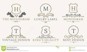 retro royal vintage shields logotype set vector calligraphyc