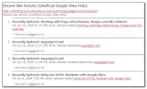 Google Sites File Cabinet Sharing Recent Site Activity Via Rss Unofficial Google Sites