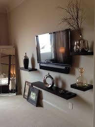 3rd floor master bedroom suite floating wood shelves displaying