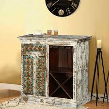 Distressed Wood Bar Cabinet Distressed White Mango Wood Brass Inlay Wine Bar Cabinet