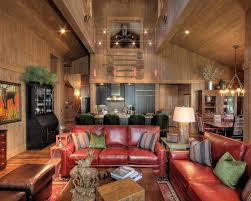 Old Fashioned Leather Sofa Furniture Rustic Family Room Dominated By Wood Elements On