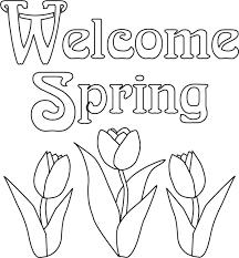 spring flowers color print kids coloring