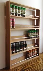 Spice Rack Holder Solid Oak Spice Rack 5 Shelves Kitchen Worktop Wall Mounted Wooden