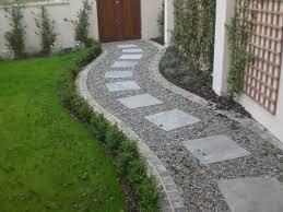 Walkway Ideas For Backyard by Square Paving Stones In A Curving Gravel Path By A Lawn I Dream