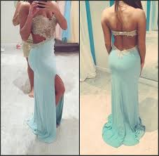 blue backless prom dresses 2017 sweetheart beading evening gown
