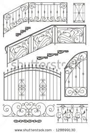 Grills Stairs Design Vector Set Wrought Iron Wicket Stairs Railing Fence And Window