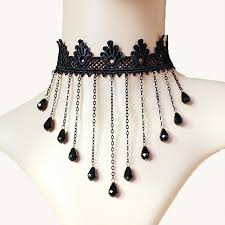 black statement choker necklace images Women necklace gothic jewelry black multi chain tassel crown lace jpg