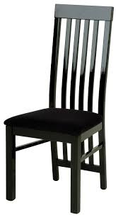 black fabric dining chairs black varnished wooden dining table