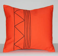 designer african tribal pillow handmade orange with black applique