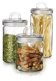 amazon com anchor hocking square glass canisters with stainless elegant home loop canister set of set of 3 clear glass round with air tight lids for bathroom or kitchen food storage containers
