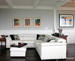white leather sectional couch in living room with benjamin moore