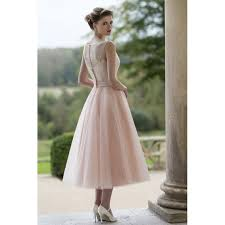 informal wedding dresses blush illusion sleeveless lace and tulle tea length informal
