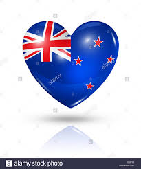 Flag New Zealand Love New Zealand Heart Flag Icon Stock Photo Royalty Free Image