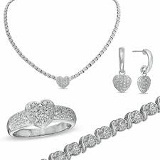 silver necklace bracelet set images Diamond accent heart necklace bracelet ring and earrings set in jpg
