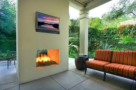 Sided Outdoor Fireplace - chicago double sided fireplace deck contemporary with traditional