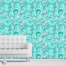 Peel Stick Wallpaper Aqua Abstract Waves Peel U0026 Stick Wallpaper Graphicsmesh