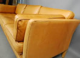 sold mogens hansen light tan leather sofa 34d114 danish vintage