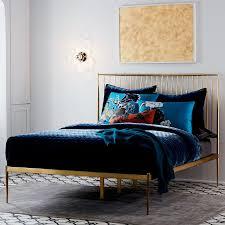 Bedrooms With Metal Beds Stella Metal Bed Brass West Elm