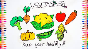 how to draw and color vegetables pumpkin tomato corn carrot