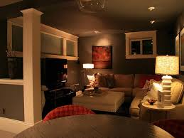 luxurious media room decorated in modern basement decorating ideas