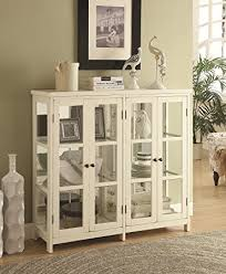 Amazoncom Coaster Accent Display Cabinet In White Kitchen  Dining - Kitchen display cabinet