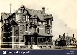 English Tudor by Eclectic Half Timbered English Tudor Victorian Mansion Stock Photo