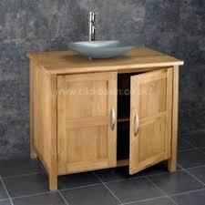 Stone Basin Vanity Unit Alta Solid Oak Two Door 90cm Wide Vanity Unit And Caserta Grey