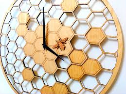 Wooden Wall Clock Bee Cells Laser Cut Wall Clock 15 7 Diameter Large