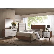 Mid Century Modern Furniture Virginia by Contemporary 4pc Queen Bed Nightstand Dresser Mirror 204301 On