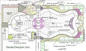 garden planning border planting walk with wooden arbor and concrete fountain basin