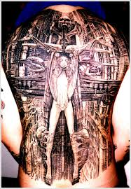 artists biomechanical tattoo design on back bio mechanical