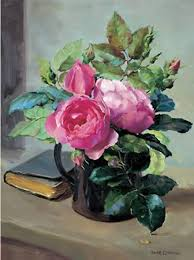 still life with opening roses birthday card mill house fine
