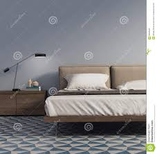 Blaues Schlafzimmer Blaues Schlafzimmer Mit Tischlampe Und Fliesen Stockfoto Bild