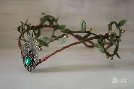 woodland elf tiara elven headpiece fairy crown green