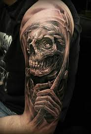 amazing grey ink aztec skull tattoo