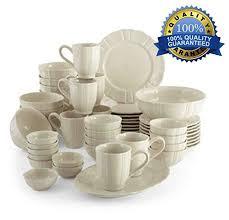 50pc dinnerware set best family size white kitchen