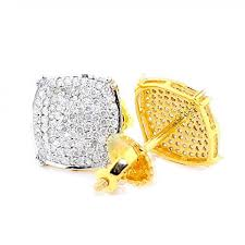 diamond back earrings diamond stud earrings for men 0 50ct 10k yellow gold pave set