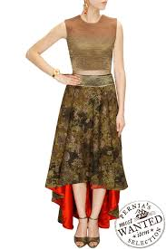shades of brown crop top with textured high low skirt by samant
