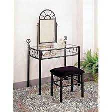 Black Vanity Table With Mirror Amazon Com Sunburst Design Black Vanity Set Table Mirror And