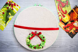 christmas in july embroidery hoop christmas card holder