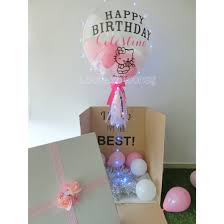 balloon in a box delivery box with 24 customised balloon looney bloons singapore