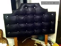 Black Studded Headboard Diy Tufted Headboard Black Snakeskin Vinyl Diamond Buttons My