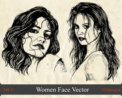 women face vector set 1 vector u0026 photoshop brushes stock