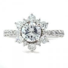 snowflake engagement ring engagement ring diamond halo moissanite center snowflake