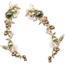 ear cuff jewelry chanel light gold 17 olive faux pearl ear cuff earrings tradesy