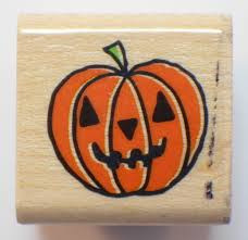 happy halloween jack o lantern pumpkin face wooden rubber stamp