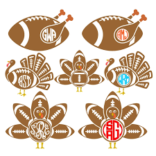 thanksgiving turkey football svg cuttable designs