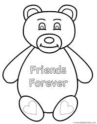 teddy bear friends forever coloring page valentine u0027s day