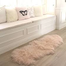 Fur Runner Rug Blush Pink Mongolian Sheepskin Fur Floor Runner Rug Eluxury Home