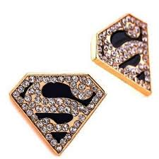 superman earrings men s gold rhinestone black superman stud